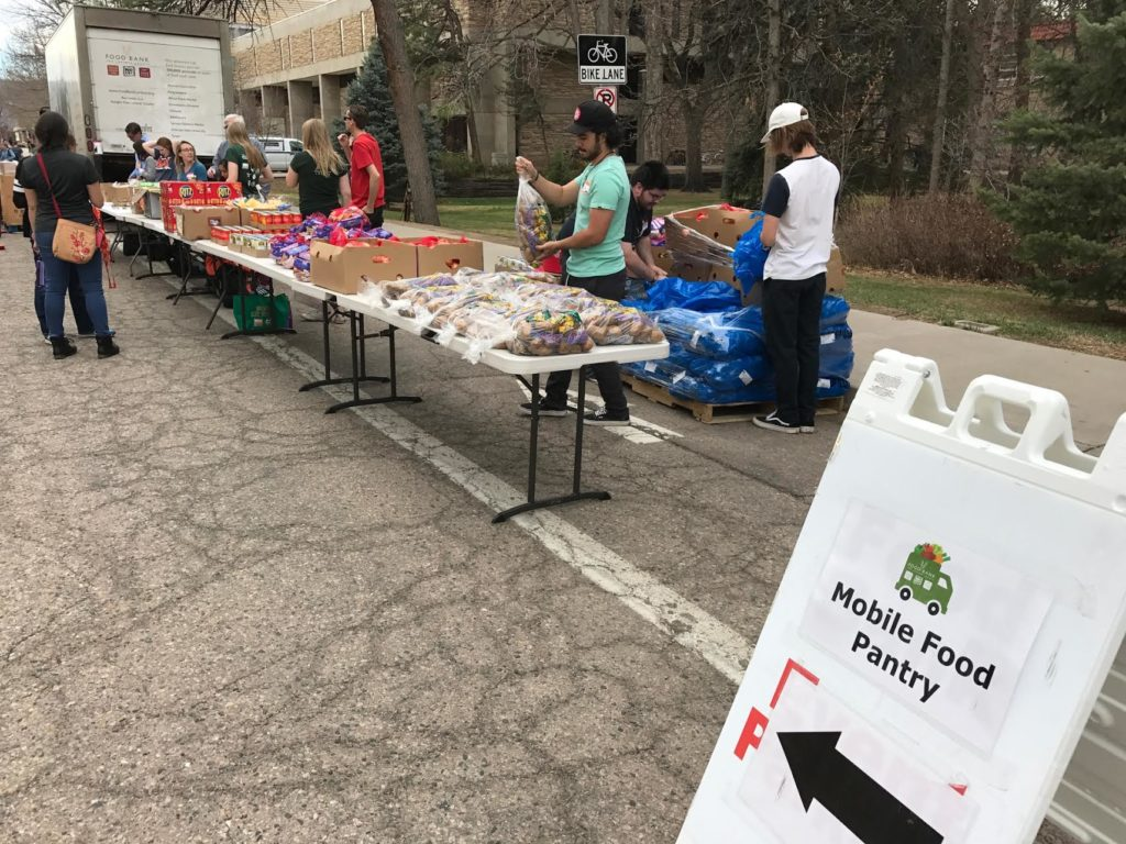 Mobile Food Pantry on campus