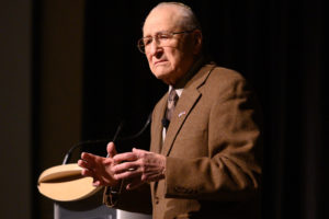 Holocaust survivor Irving Roth speaks to the CSU campus as during Holocause Awareness Week. February 20, 2019