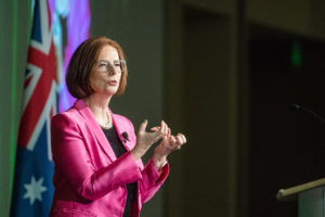 Julia Gillard, the First female Prime Minister of Australia lectures at Colorado State University's Global Engagement Distinguished Lecture Series at the Lory Student Center, April 8, 2019.